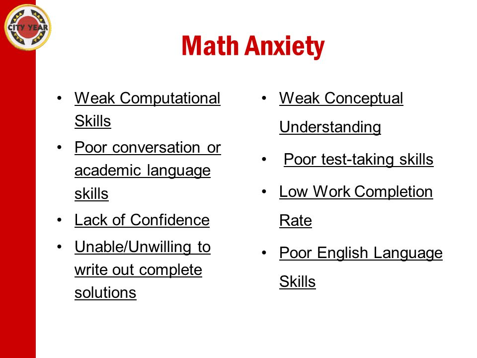 Math Anxiety Weak Computational SkillsWeak Computational Skills Poor conversation or academic language skillsPoor conversation or academic language skills Lack of Confidence Unable/Unwilling to write out complete solutionsUnable/Unwilling to write out complete solutions Weak Conceptual UnderstandingWeak Conceptual Understanding Poor test-taking skills Low Work Completion RateLow Work Completion Rate Poor English Language SkillsPoor English Language Skills
