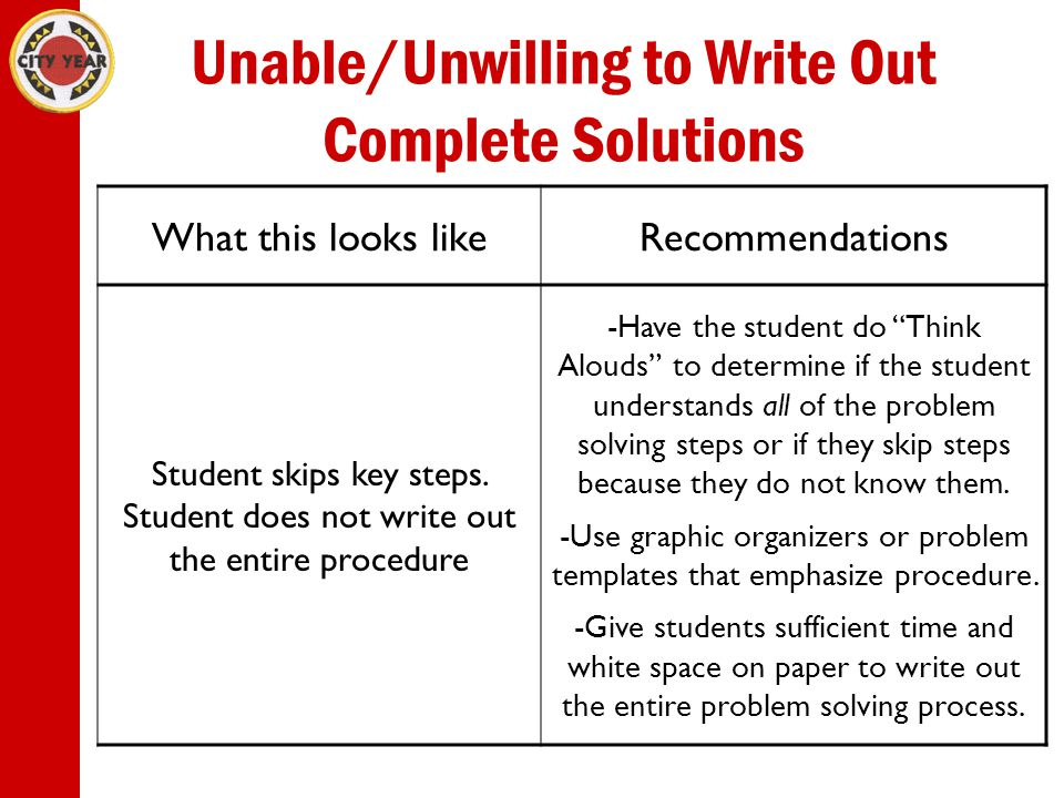 Unable/Unwilling to Write Out Complete Solutions What this looks likeRecommendations Student skips key steps.