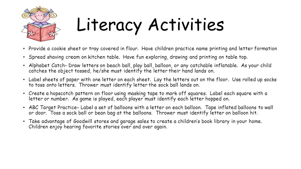 Literacy Activities Provide a cookie sheet or tray covered in flour.