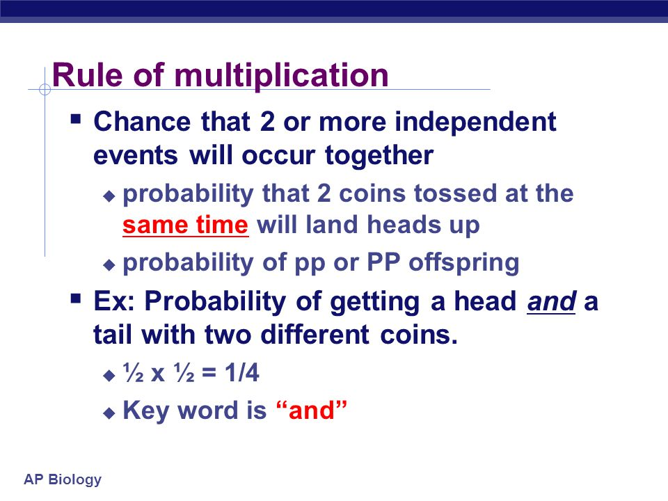 AP Biology Rule of multiplication  Chance that 2 or more independent events will occur together  probability that 2 coins tossed at the same time wi