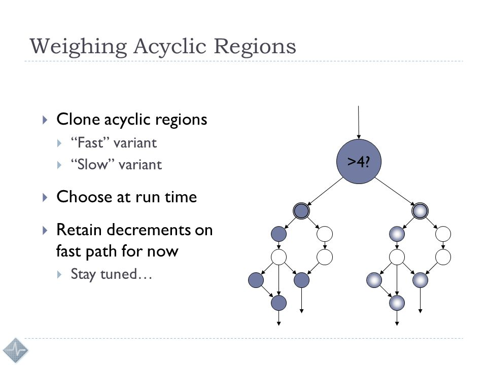 Weighing Acyclic Regions  Clone acyclic regions  Fast variant  Slow variant  Choose at run time  Retain decrements on fast path for now  Stay tuned… >4