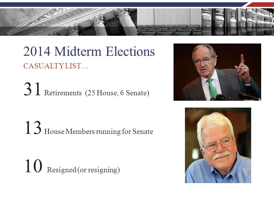 2014 Midterm Elections 31 Retirements (25 House, 6 Senate) 13 House Members running for Senate 10 Resigned (or resigning) CASUALTY LIST…