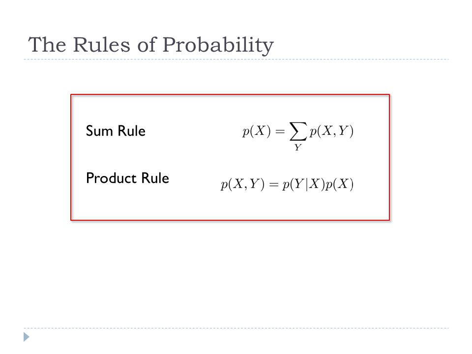 The Rules of Probability Sum Rule Product Rule