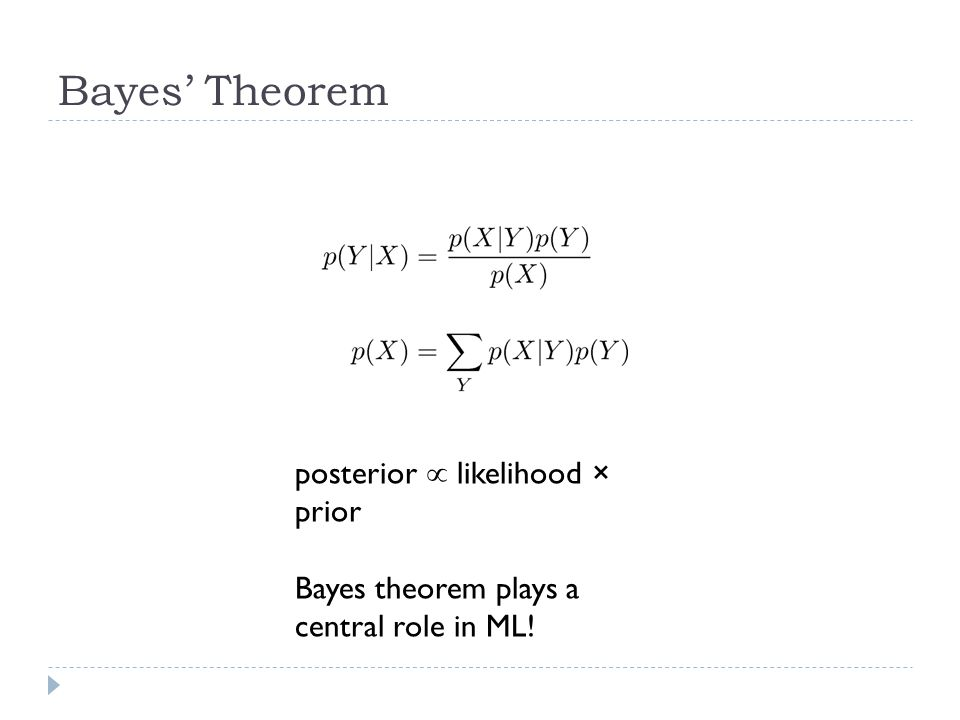 Bayes' Theorem posterior  likelihood × prior Bayes theorem plays a central role in ML!
