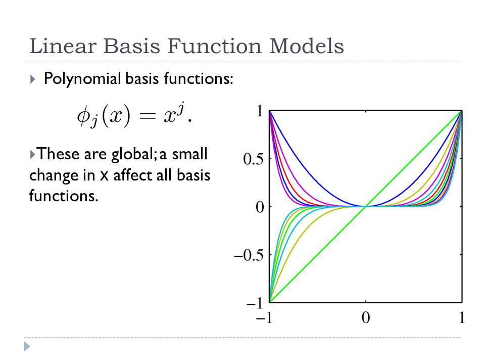 Linear Basis Function Models  Polynomial basis functions:  These are global; a small change in x affect all basis functions.