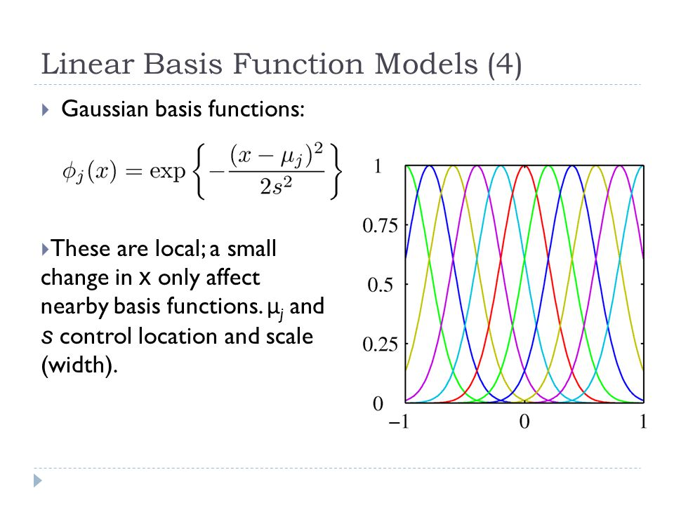 Linear Basis Function Models (4)  Gaussian basis functions:  These are local; a small change in x only affect nearby basis functions.