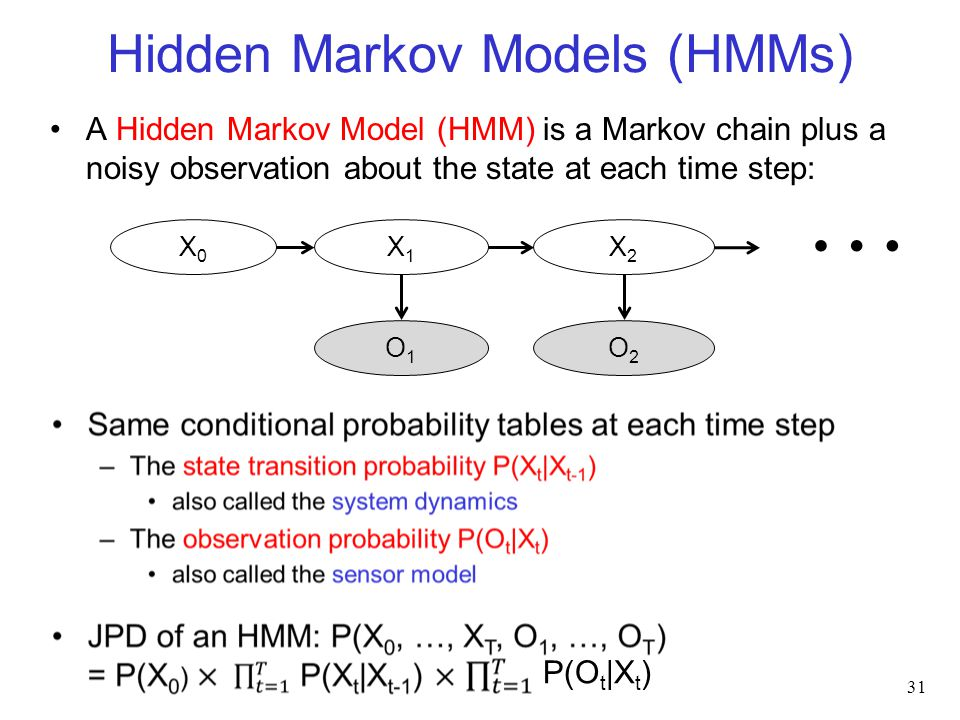 Hidden Markov Models (HMMs) A Hidden Markov Model (HMM) is a Markov chain plus a noisy observation about the state at each time step: 31 O1O1 X0X0 X1X1 O2O2 X2X2 … P(O t |X t )