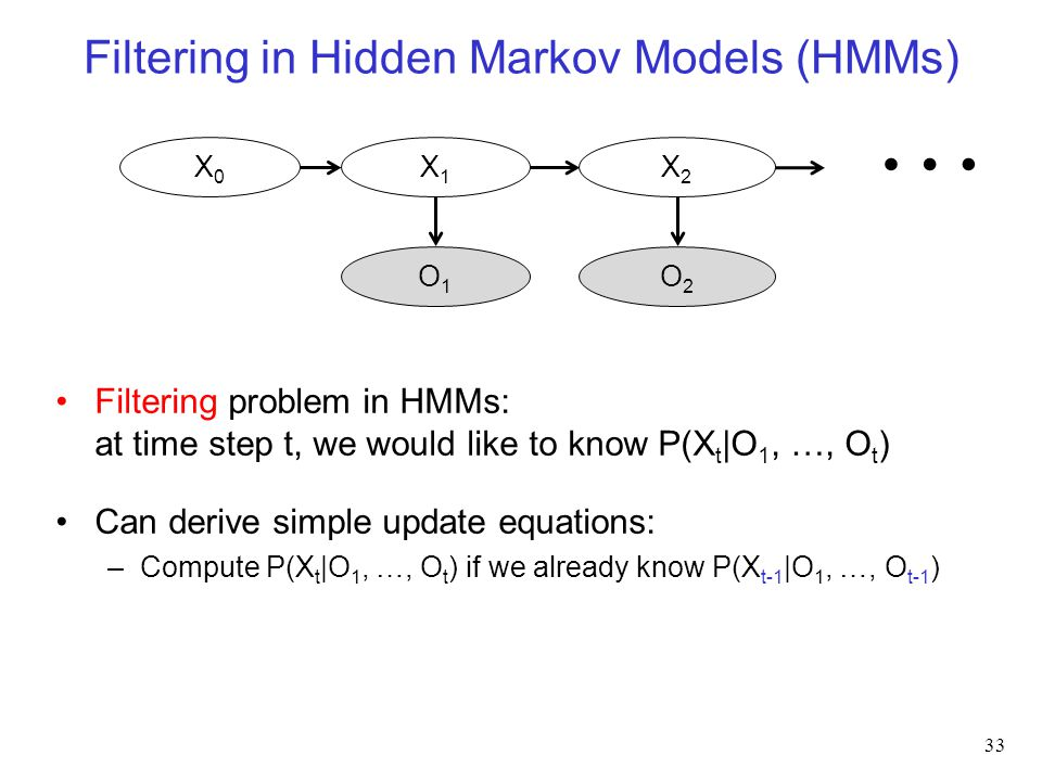 Filtering in Hidden Markov Models (HMMs) 33 O1O1 X0X0 X1X1 O2O2 X2X2 Filtering problem in HMMs: at time step t, we would like to know P(X t |O 1, …, O t ) Can derive simple update equations: –Compute P(X t |O 1, …, O t ) if we already know P(X t-1 |O 1, …, O t-1 ) …