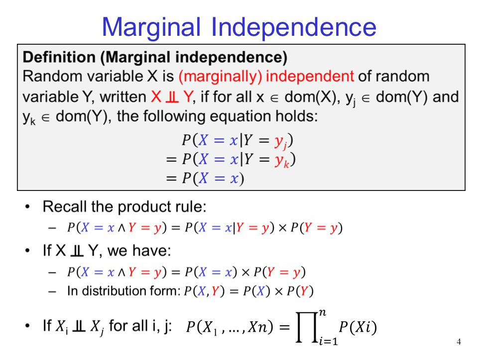 Conditional Independence 5 Intuitively: if X ╨ Y   Z, then –learning that Y=y does not change your belief in X when we already know Z=z –and this is true for all values y that Y could take and all values z that Z could take For example, ExamGrade ╨ AssignmentGrade   UnderstoodMaterial