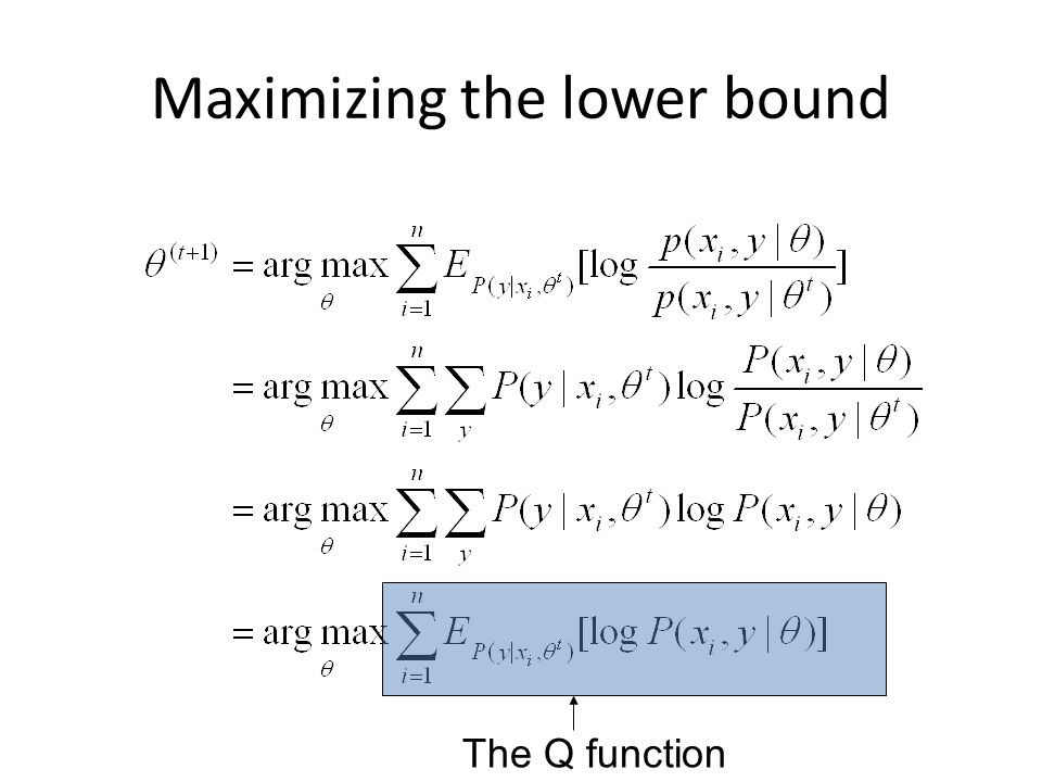Maximizing the lower bound The Q function