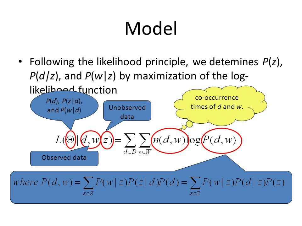 Model Following the likelihood principle, we detemines P(z), P(d|z), and P(w|z) by maximization of the log- likelihood function co-occurrence times of d and w.