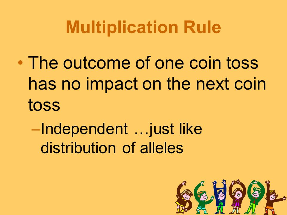 Multiplication Rule The outcome of one coin toss has no impact on the next coin toss –Independent …just like distribution of alleles