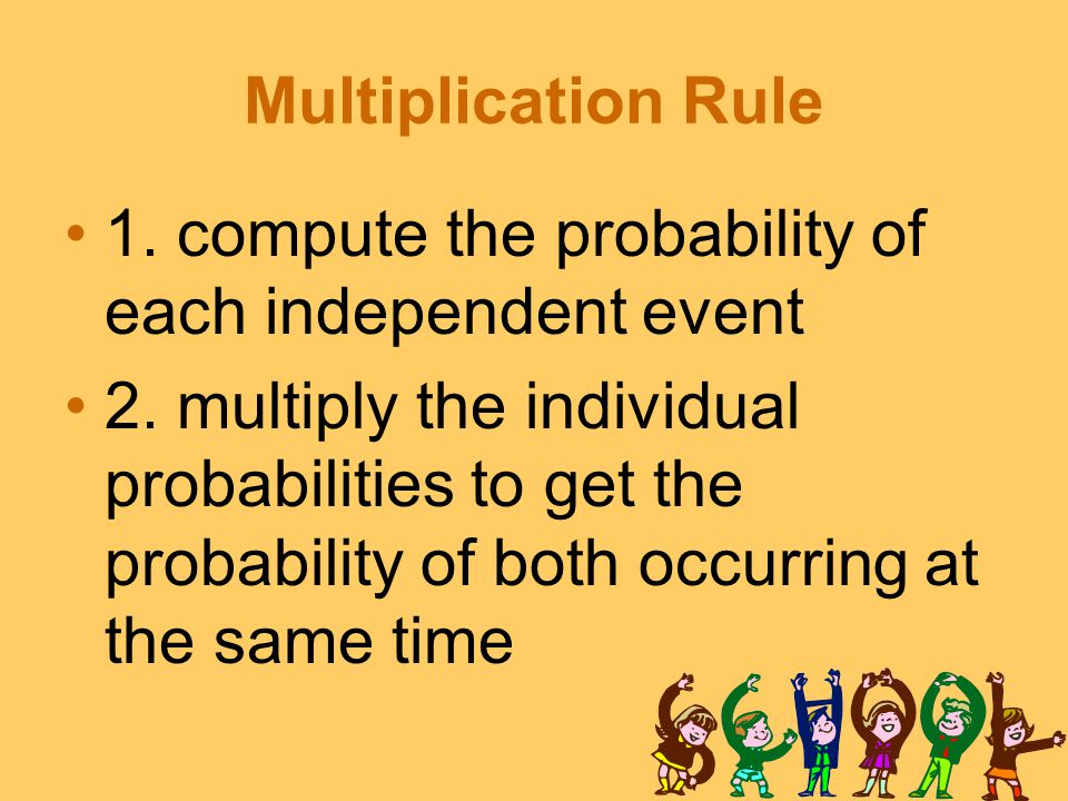 Multiplication Rule 1. compute the probability of each independent event 2.