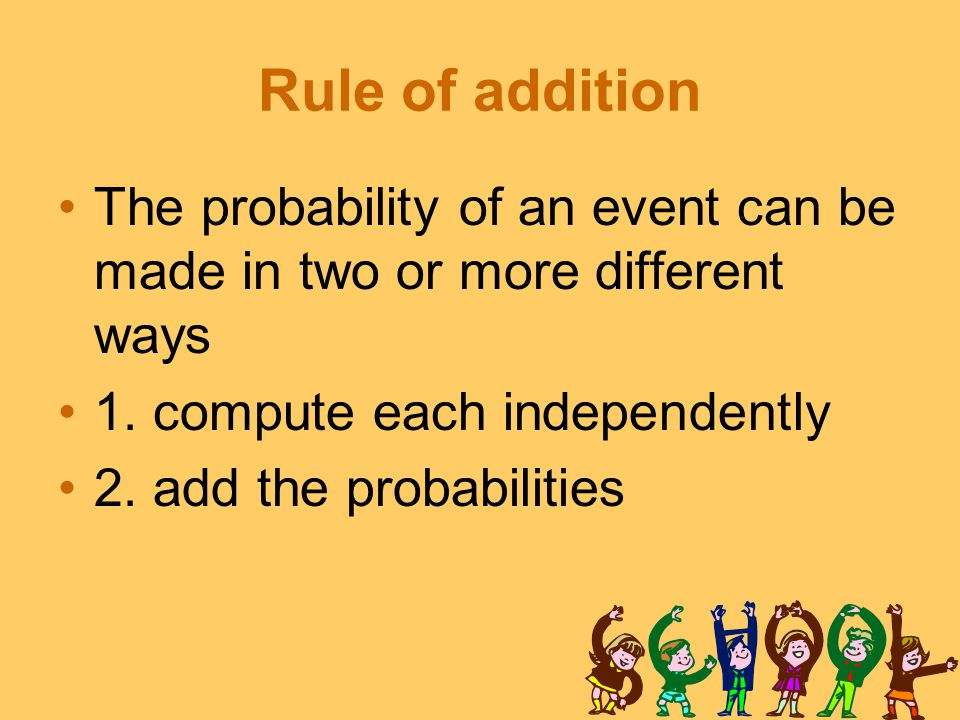 Rule of addition The probability of an event can be made in two or more different ways 1.