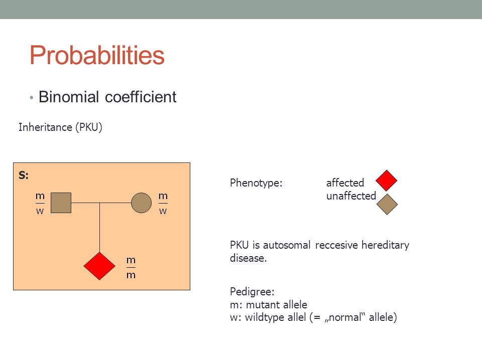 Probabilities Binomial coefficient S: Phenotype:affected unaffected PKU is autosomal reccesive hereditary disease.