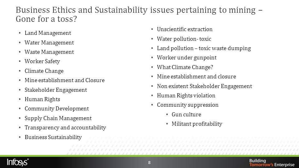 8 Land Management Water Management Waste Management Worker Safety Climate Change Mine establishment and Closure Stakeholder Engagement Human Rights Co