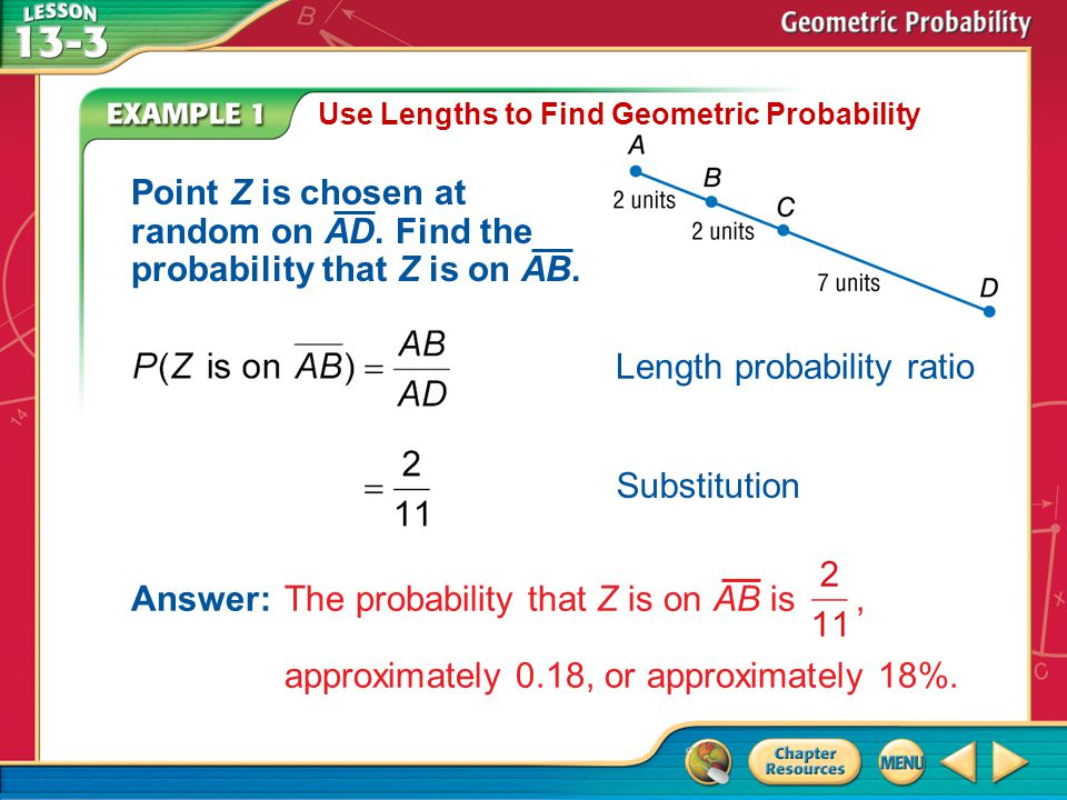 Substitution Example 1 Use Lengths to Find Geometric Probability Point Z is chosen at random on AD. Find the probability that Z is on AB. Length proba