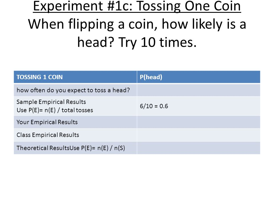 Experiment #1c: Tossing One Coin When flipping a coin, how likely is a head.