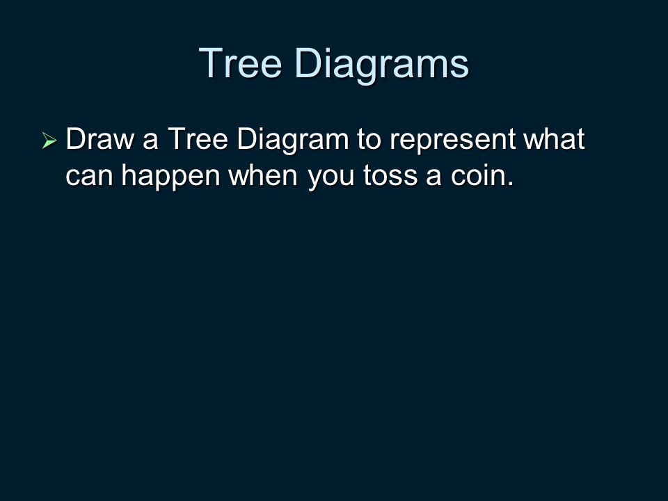 Tree Diagrams  Draw a Tree Diagram to represent what can happen when you toss a coin.