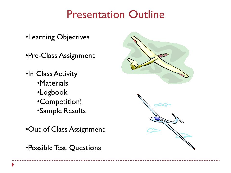 Presentation Outline Learning Objectives Pre-Class Assignment In Class Activity Materials Logbook Competition.