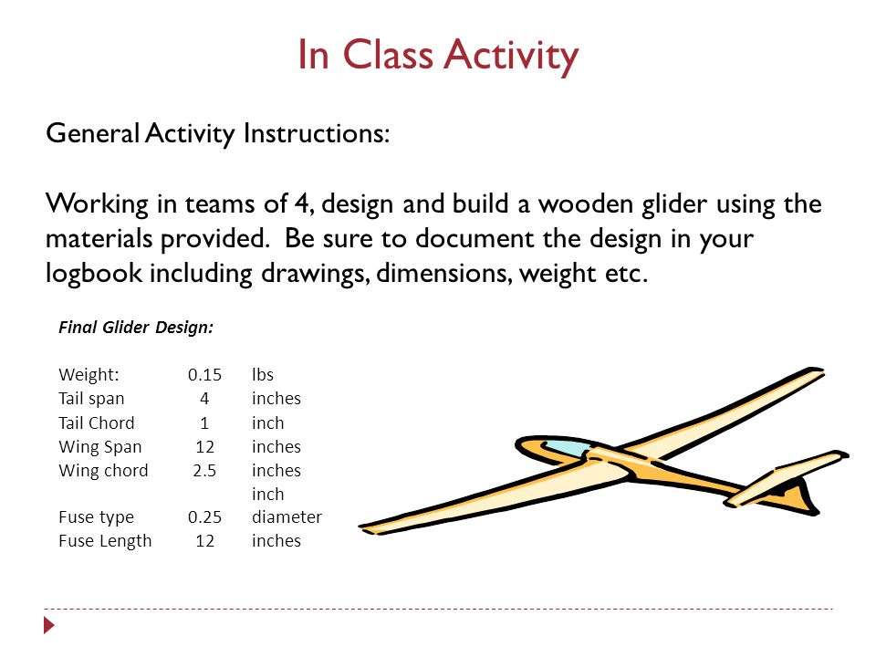 In Class Activity General Activity Instructions: Working in teams of 4, design and build a wooden glider using the materials provided.