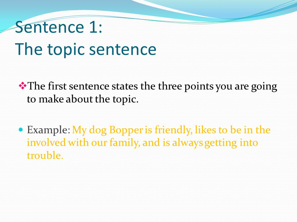 Sentence 1: The topic sentence vThe first sentence states the three points you are going to make about the topic.