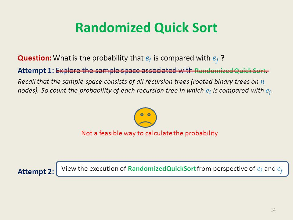Randomized Quick Sort 14 Not a feasible way to calculate the probability