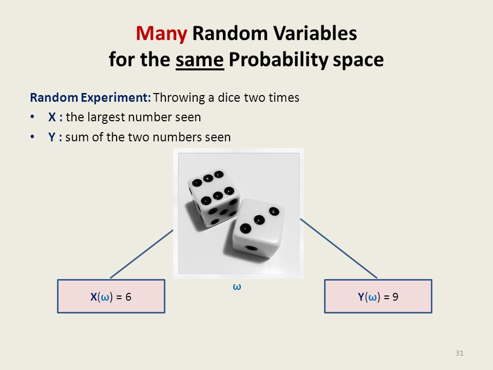 Many Random Variables for the same Probability space Random Experiment: Throwing a dice two times X : the largest number seen Y : sum of the two numbe