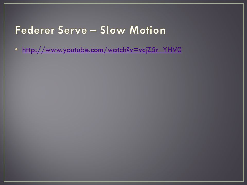 Serve one of most important moments in tennis Small changes have large effect on biomechanics of the serve and injury potential Initial phases store potential energy High potential for injury Proper technique is key Caused by high internal forces