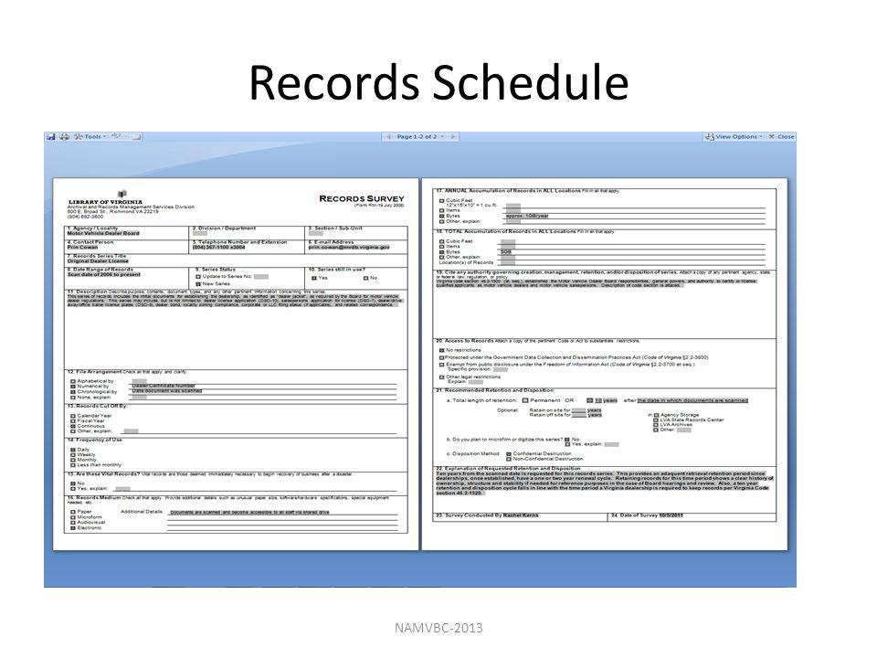 Records Schedule NAMVBC-2013