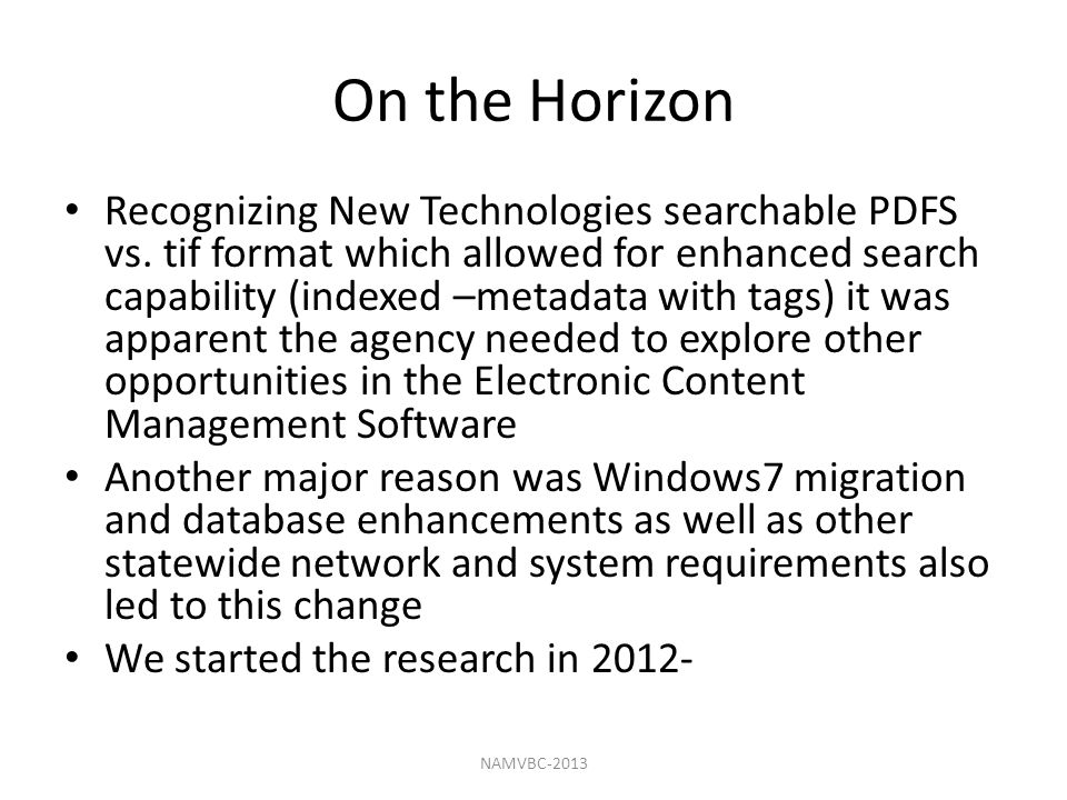 On the Horizon Recognizing New Technologies searchable PDFS vs.