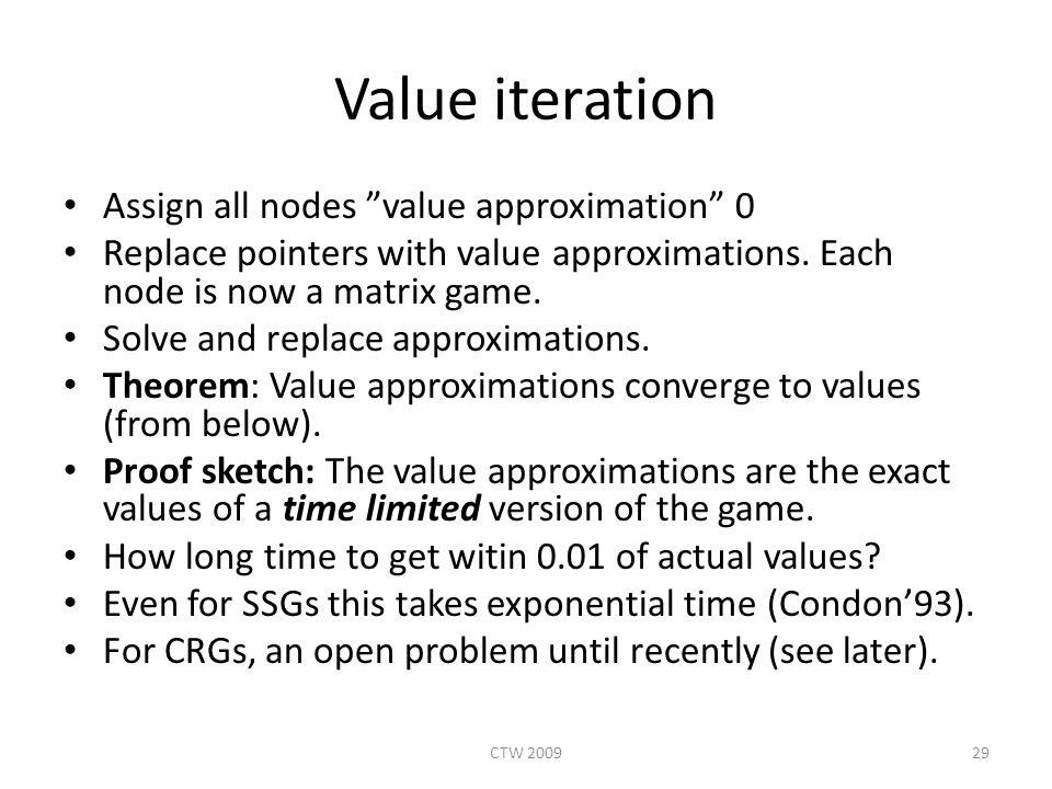 Value iteration Assign all nodes value approximation 0 Replace pointers with value approximations.