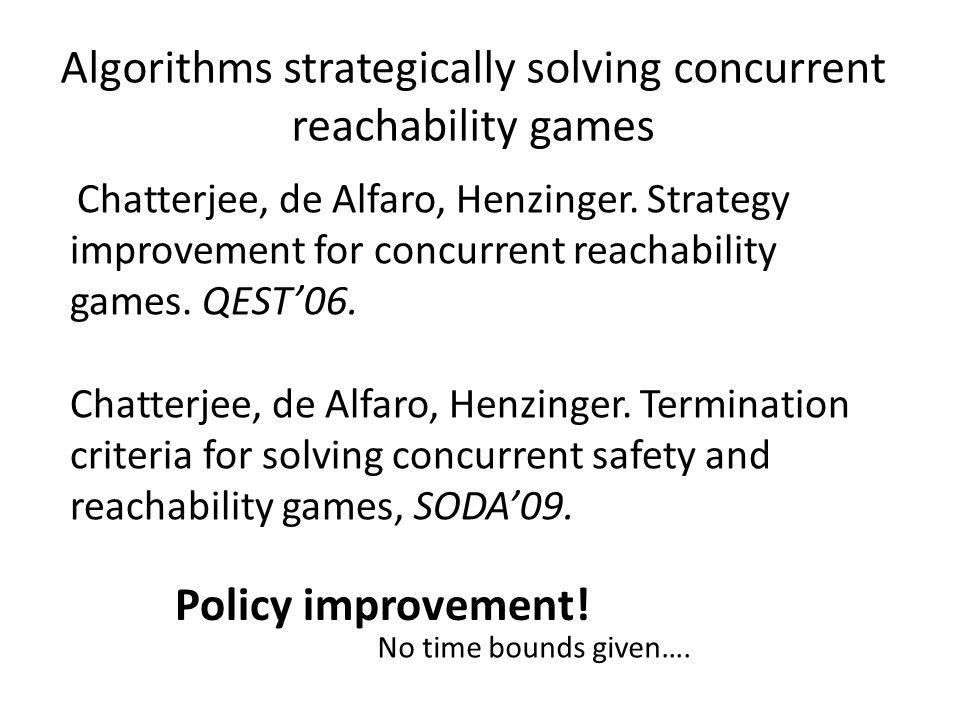 Algorithms strategically solving concurrent reachability games Chatterjee, de Alfaro, Henzinger.