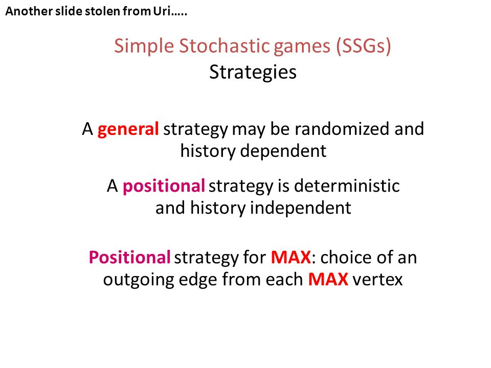 Simple Stochastic games (SSGs) Strategies A general strategy may be randomized and history dependent A positional strategy is deterministic and history independent Positional strategy for MAX: choice of an outgoing edge from each MAX vertex Another slide stolen from Uri…..