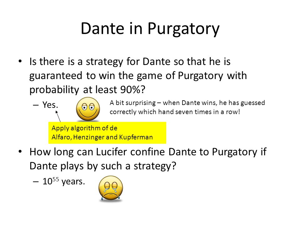 Is there is a strategy for Dante so that he is guaranteed to win the game of Purgatory with probability at least 90%.