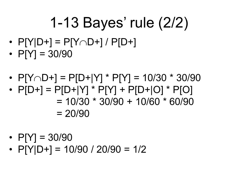 1-13 Bayes' rule (2/2) P[Y|D+] = P[Y  D+] / P[D+] P[Y] = 30/90 P[Y  D+] = P[D+|Y] * P[Y] = 10/30 * 30/90 P[D+] = P[D+|Y] * P[Y] + P[D+|O] * P[O] = 10/30 * 30/90 + 10/60 * 60/90 = 20/90 P[Y] = 30/90 P[Y|D+] = 10/90 / 20/90 = 1/2