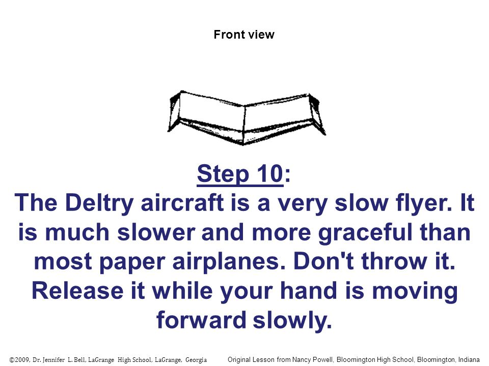 Front view Step 10: The Deltry aircraft is a very slow flyer. It is much slower and more graceful than most paper airplanes. Don't throw it. Release i