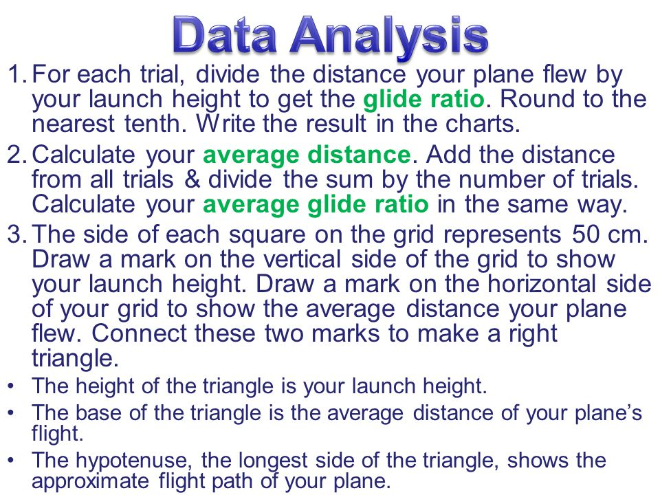 1.For each trial, divide the distance your plane flew by your launch height to get the glide ratio.