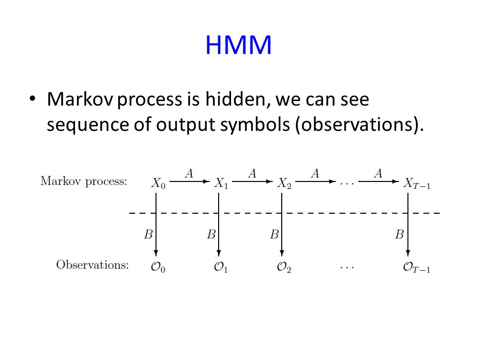 HMM Markov process is hidden, we can see sequence of output symbols (observations).