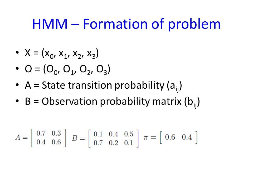 HMM – Formation of problem X = (x 0, x 1, x 2, x 3 ) O = (O 0, O 1, O 2, O 3 ) A = State transition probability (a ij ) B = Observation probability matrix (b ij )
