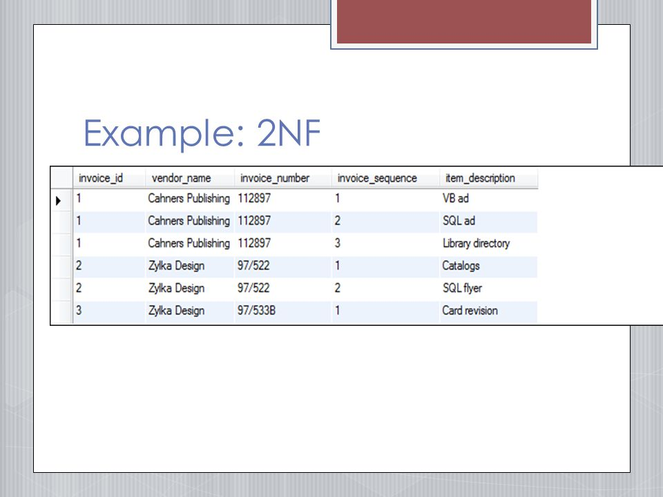 Example: 2NF