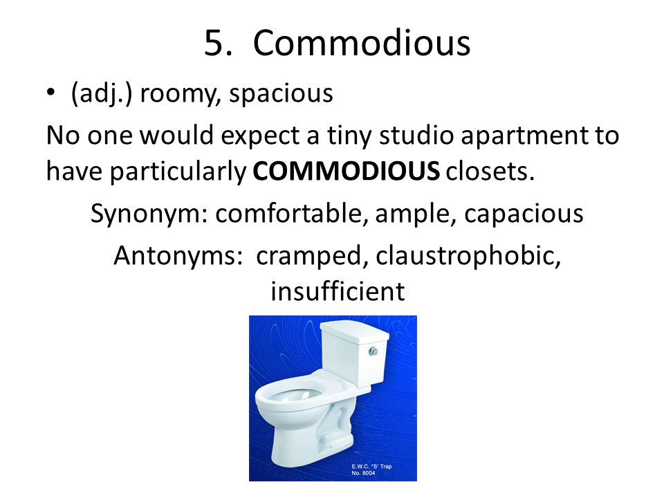 5. Commodious (adj.) roomy, spacious No one would expect a tiny studio apartment to have particularly COMMODIOUS closets. Synonym: comfortable, ample,