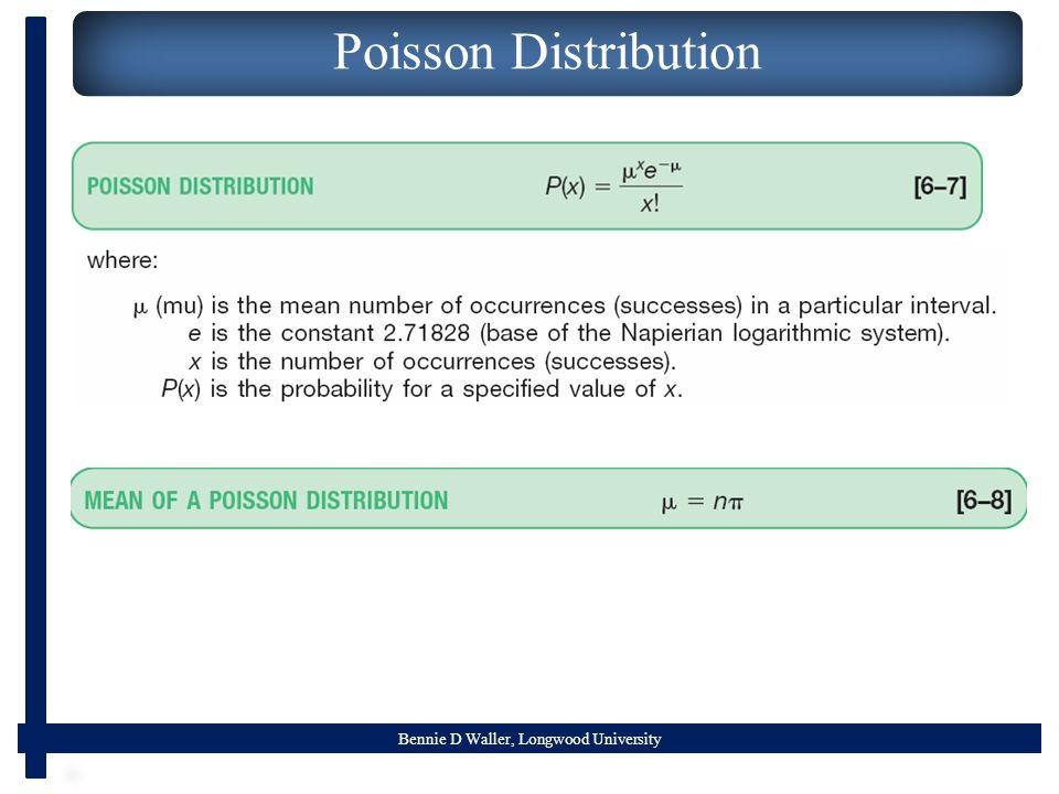 Bennie D Waller, Longwood University Poisson Distribution