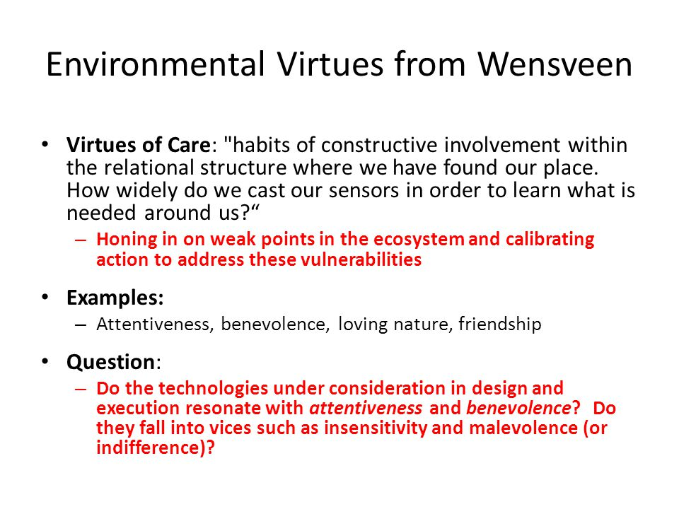 Environmental Virtues from Wensveen Virtues of Care: