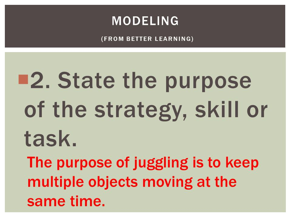  2. State the purpose of the strategy, skill or task.