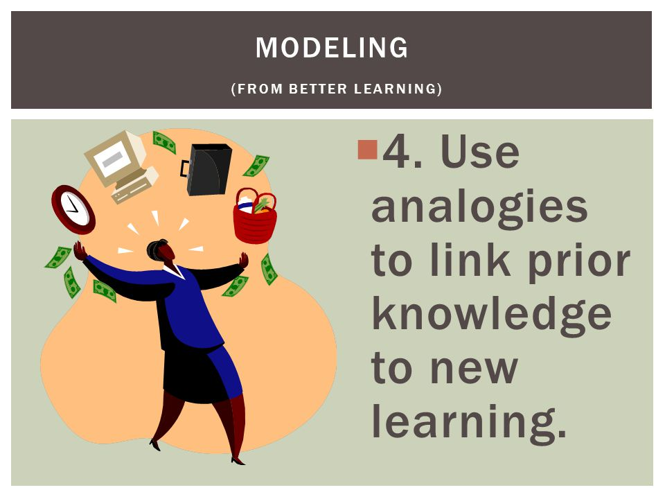  4. Use analogies to link prior knowledge to new learning. MODELING (FROM BETTER LEARNING)