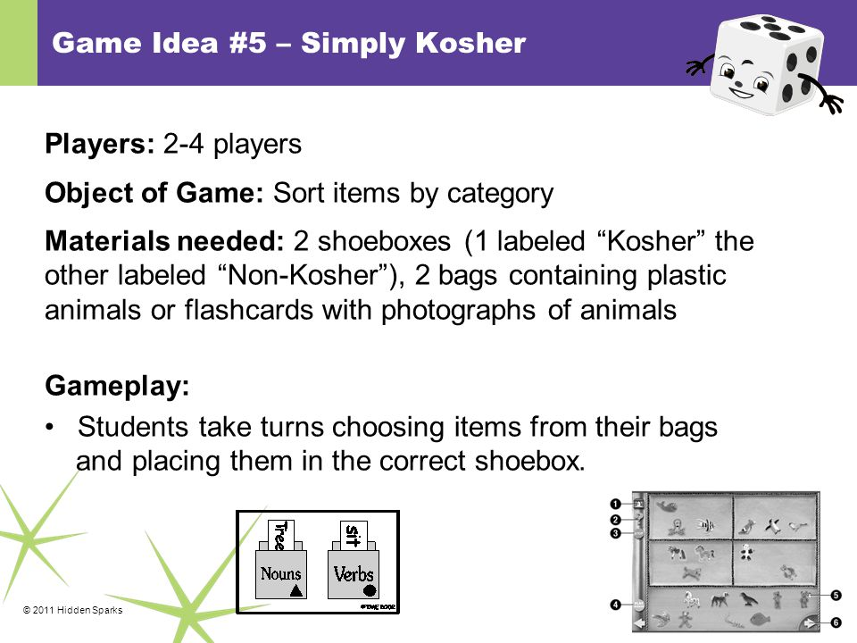 © 2011 Hidden Sparks Game Idea #5 – Simply Kosher Players: 2-4 players Object of Game: Sort items by category Materials needed: 2 shoeboxes (1 labeled Kosher the other labeled Non-Kosher ), 2 bags containing plastic animals or flashcards with photographs of animals Gameplay: Students take turns choosing items from their bags and placing them in the correct shoebox.