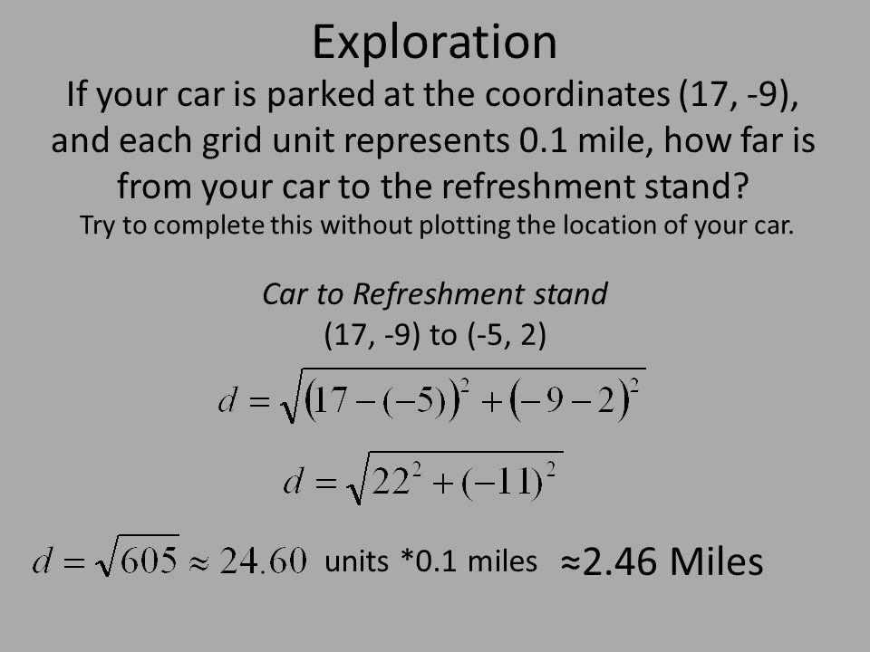 Exploration If your car is parked at the coordinates (17, -9), and each grid unit represents 0.1 mile, how far is from your car to the refreshment stand.