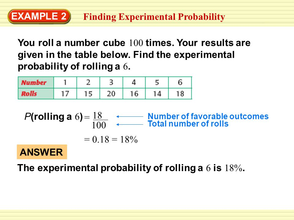 EXAMPLE 3 Standardized Test Practice SOLUTION STEP 1 Find the experimental probability of a button being defective.