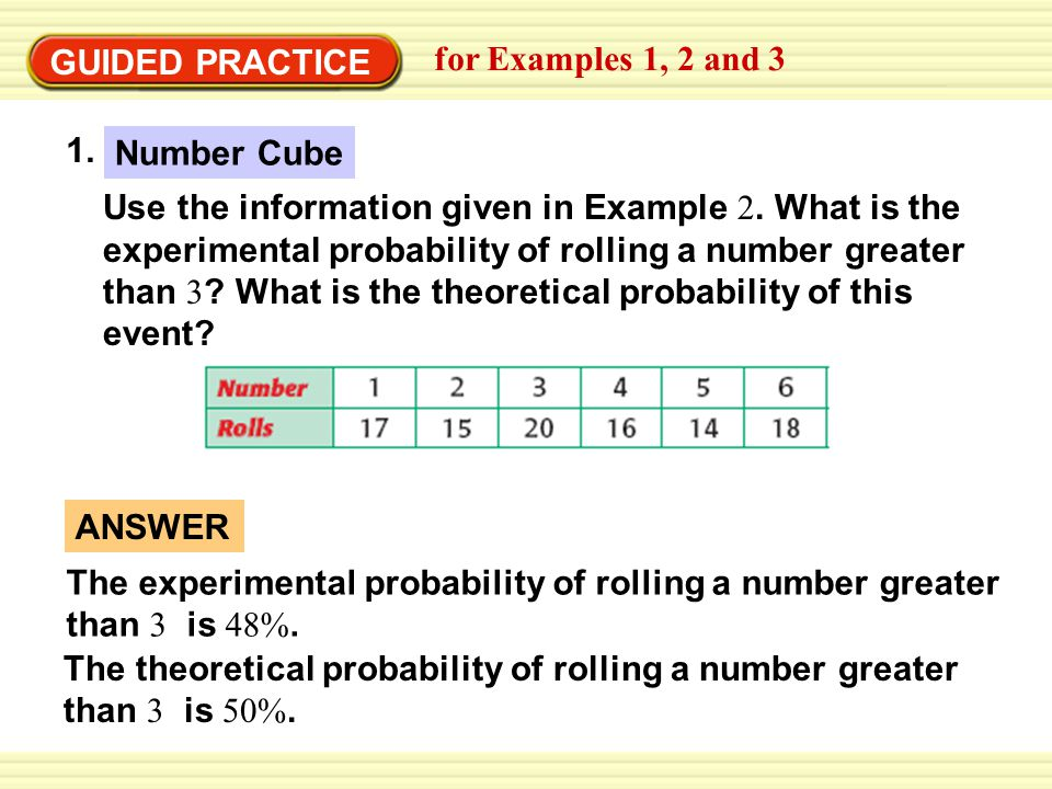 GUIDED PRACTICE for Examples 1, 2 and 3 Use the information in Example 3.